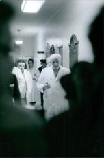 Adrian Kantrowitz in the hospital with other doctor, 1968.