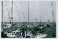 War ships sailing in the ocean, Germany, 1940