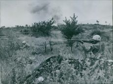 A photo of marine Infantry men fire M-1 (Garand) rifles in a simulated enemy position as they advance with tanks during training behind the lines in Korea.