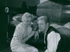 "Gunn Wållgren and Rune Lindström in the scene from the movie, ""Ordet""."