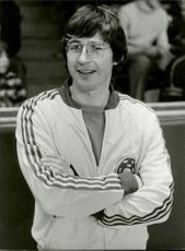 Portrait image of Bertil Andersson, national team leader in handball, taken in an unknown context.