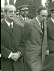 Portuguese President Costa Gomes, along with Vasco Gonçalves and Carlos Fabiao