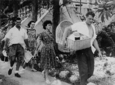 Two men and two women going out for a picnic in Zanzibar in 1964.