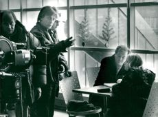 """Thomas Hellberg instructs Kent Andersson and Ulrika Hansson in a scene from """"The Winter of Rats"""""""