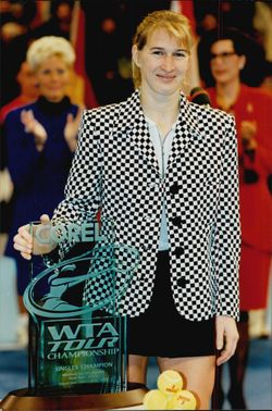 Steffi Graf with her trophy as she won by defeating Anke Huber in the Corel WTA Tour Championships