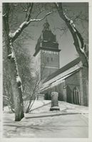 Strängnäs cathedral winter image - postcard black and white
