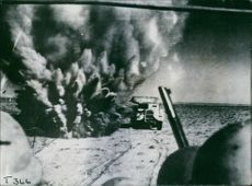 Allied advancing through Axis minefields despite shell-fire, Libya, 1942.