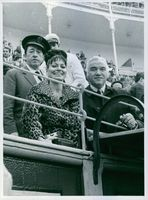 Canadian actor Lorne Greene is seen with his wife Nancy during a bullfight in the Madrilanian bullring, Spain; while they are looking towards the camera with smiling face