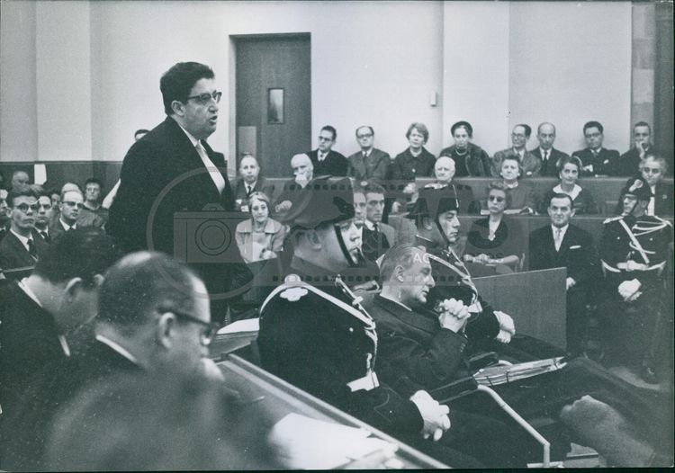 """Man speaking in courtroom related to """"The Jaccoud Case"""". 1960"""