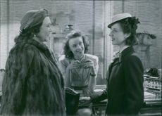 "Tollie Zellman, Annalisa Ericson and Marianne Aminoff in a scene from the film ""One, But a Lion!""."
