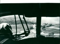 View from helicopter cockpit during Indochina war