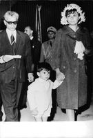 Mohammad Reza Pahlavi, wife Farah and their son Reza.