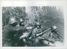 Soldiers on battlefield.