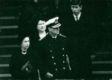 Queen Elizabeth, prince Philip, the Queen Mother and prince Charles at funeral of Winston Churchill.