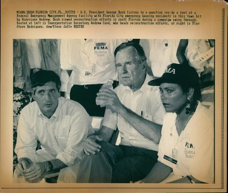 George Walker Bush with Flor Otero Rodriguez and Andrew Card.