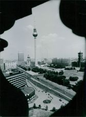 A novel view of the city center of East Berlin, capital of East Germany, 1984.