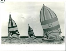 Jacobite S.L. Jones leads a Spinnaker duel.