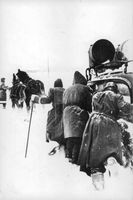 German army had to face freezing temperatures and snow during wartime 1942 in Russia.