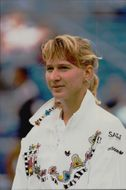 Steffi Graf competes in the US Open