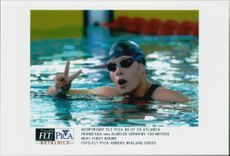 German swimmer Franziska van Almsick after the first round of 100 meters during the Olympic Games in Atlanta in 1996