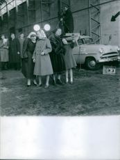 Beatrix Wilhelmina Armgard (Queen of the Netherlands) in her early age in a film shooting spot.
