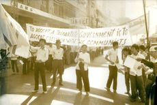 A crowd having a protest along the street.