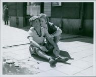 Siri Olson and Rune Enoch Halvarsson in a scene from the 1941 film,