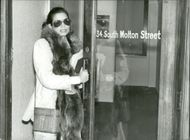 Bianca Jagger outside a law firm