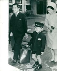 Crown Prince Akihito and the wife of Mickey's children, Little Prince Aya dressed up in his school uniform before the start of the school and the opening ceremony at the Gakushuin School