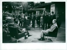 """View of the studio during an interview by Harold Webb with Prince Philip in the BBC's """"Prospect"""" program"""