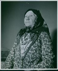 "Portrait of an old woman in Sweden.  "" __ in Sweden""  1940"