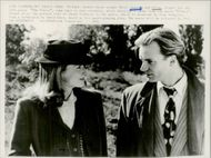 """Actress Meryl Streep and the singer Sting during the recordings of the movie """"At Every Price"""""""