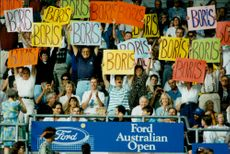 Fans with Boris Becker poster on the stands at the Australian Open 96