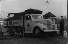 Red Cross relief operation for Hungary. One of the cars at the departure from Stockholm.
