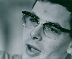 Close-up photo of Hannes Keller, 1962.