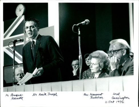 Sir Keith Joseph with Mr. Augus Maude and Mrs. Margaret Thatcher.