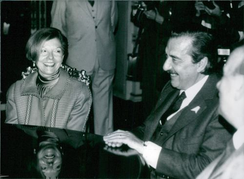 Argentinian Politicians: President Raul Alfonsin of Argentina with former President Isabel Peron, who made a triumphant return home in May 1984 after her years of self-imposed exile in Spain. The visit came at the invitation of President Alfonsin, who was