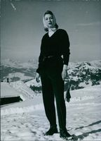Princess Toussoun on the Wasserngrat above the winter sports resort of Gstaad in Switzerland, 1963.