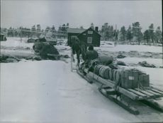 Men siting and moving with full of luggage by animal drawn sledge.