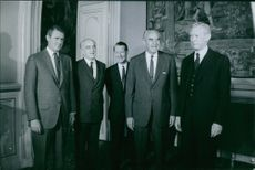 A photo of an American Democratic politician, businessman, and diplomat William Averell Harriman standing with other men. 1968