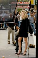 "Sharon Stone during the filming of ""Gloria"" in Manhattan"