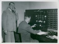 From the Amplifier Department, Radio Commissioner Mattsson checks by telephone that everything is ready for the broadcast and recording for the summer's quarter