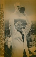 Enzo Bearzot, Italy's national coach, celebrates the 3-1 victory over Germany in the World Championship final.