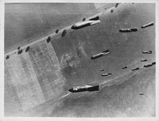 Missiles dropping on city,1941.