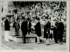 Wreath ceremony during the Olympic Games in Stockholm Stadium
