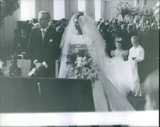 Prince Johann Georg and Princess Birgitta of Sweden in their wedding ceremony. 1961