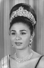 Portrait of Farah Pahlavi, wearing her crown and jewelries.  - 1964