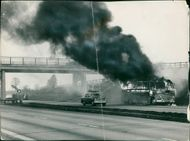 road accidents:claudes of thick smoke.