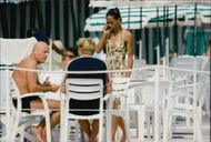 Boris Becker and Mrs Barbara are having lunch at the Monaco beach club restaurant La Potiniere