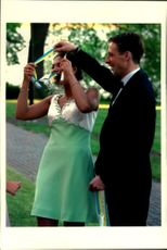 The Crown Princess receives a student presentation of a friend during her graduation party at Ulriksdal Palace.